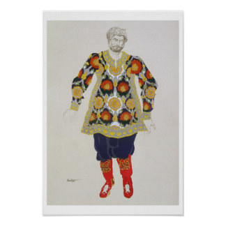 Costume design for a man, from Sadko, 1917 (colour Poster