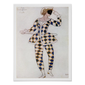 Costume design for Harlequin, from Sleeping Beauty Poster