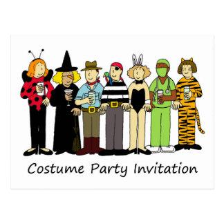 Costume party invitation children in fancy dress postcard