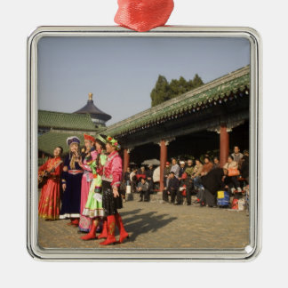 Costumed amateur folk dancers entertain Silver-Colored square ornament