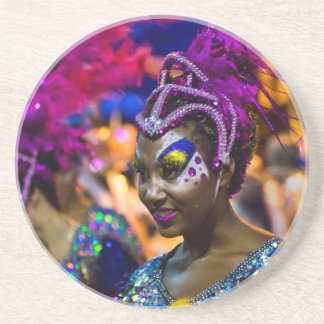 Costumed Attractive Dancer Woman at Carnival Parad Coaster