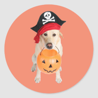 Costumed Dog Round Sticker