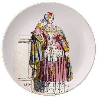 ~ COSTUMES ~A Lady of Rank~ Edward 3rd ~ 1350s Plate