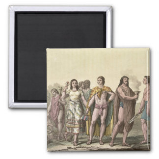 Costumes of the Mexicans (colour engraving) Fridge Magnets