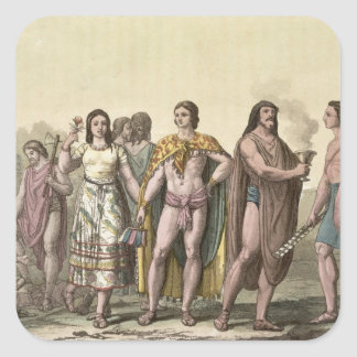 Costumes of the Mexicans (colour engraving) Square Sticker