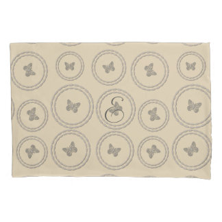 Cosy Grey Beige Butterflies Monogram Pillow Case