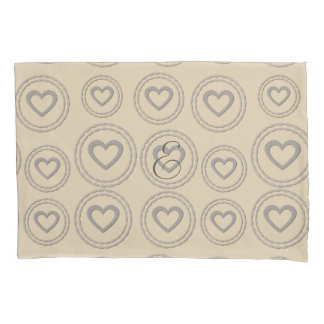 Cosy Grey Beige Hearts Monogram Pillow Case