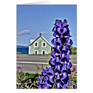 Cosy little house by the sea with a lupine flower card