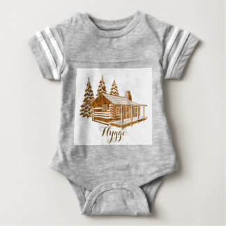 Cosy Log Cabin - Hygge or your own text Baby Bodysuit