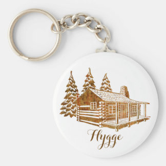 Cosy Log Cabin - Hygge or your own text Basic Round Button Keychain