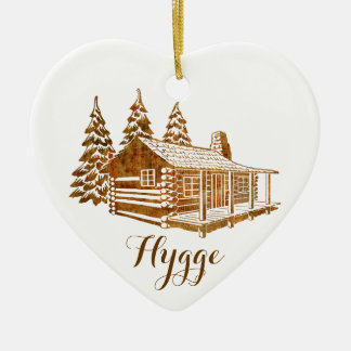 Cosy Log Cabin - Hygge or your own text Ceramic Heart Ornament