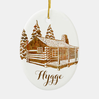 Cosy Log Cabin - Hygge or your own text Ceramic Oval Ornament