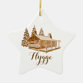 Cosy Log Cabin - Hygge or your own text Ceramic Star Ornament