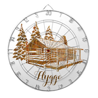 Cosy Log Cabin - Hygge or your own text Dartboard