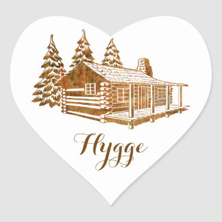 Cosy Log Cabin - Hygge or your own text Heart Sticker