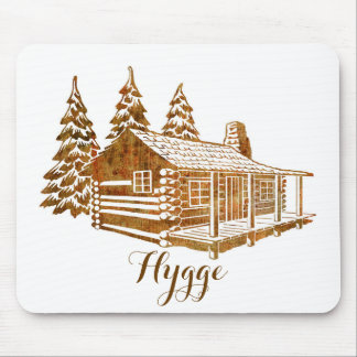 Cosy Log Cabin - Hygge or your own text Mouse Pad