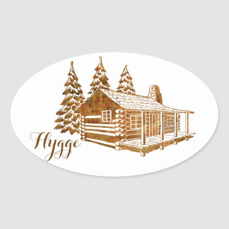 Cosy Log Cabin - Hygge or your own text Oval Sticker
