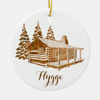 Cosy Log Cabin - Hygge or your own text Round Ceramic Ornament