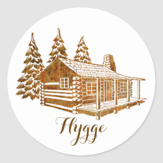 Cosy Log Cabin - Hygge or your own text Round Sticker