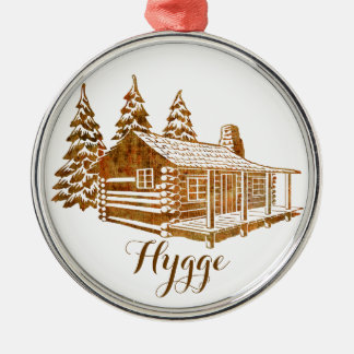 Cosy Log Cabin - Hygge or your own text Silver-Colored Round Ornament