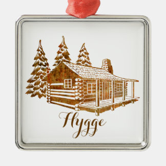 Cosy Log Cabin - Hygge or your own text Silver-Colored Square Ornament
