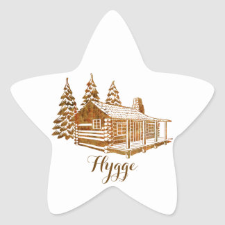 Cosy Log Cabin - Hygge or your own text Star Sticker