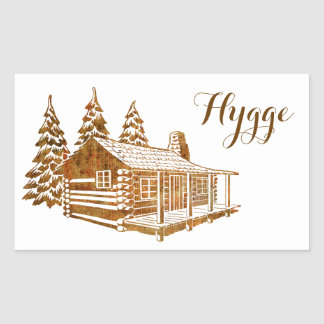 Cosy Log Cabin - Hygge or your own text Sticker