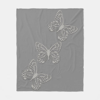 Cosy Silver Butterfly Grey Fleece Blanket