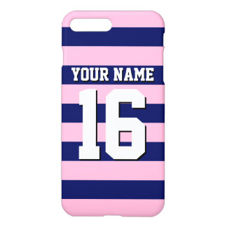 Cot Candy Pink Navy Blue Team Jersey Preppy Stripe iPhone 7 Plus Case