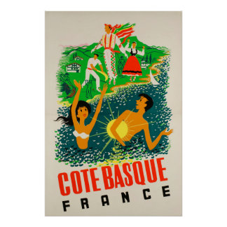 Côte Basque, France, Travel Poster