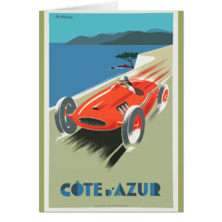 Cote d Azur French vintage Travel poster as Card