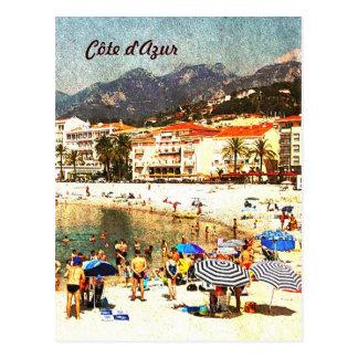 Côte d'Azur, retro styled beach postcard