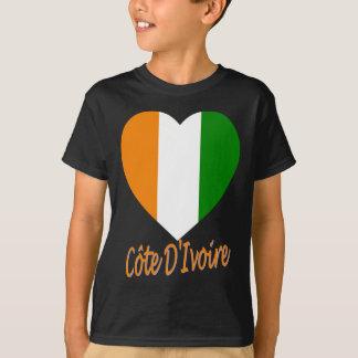 Cote D'Ivoire Flag Heart T-Shirt