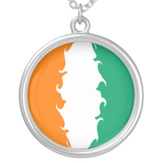 Cote d'Ivoire Gnarly Flag Round Pendant Necklace