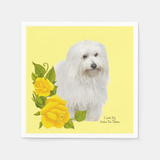 Coton De Tulear and Yellow Roses Paper Napkin