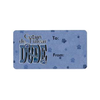 Coton de Tulear DUDE Étiquette D'adresse