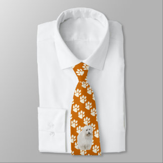 Coton De Tulear on rust with white Paw Prints Tie