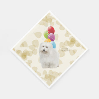 Coton De Tulear Tan Leaves and Balloons Disposable Napkins