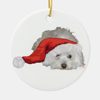 Coton de Tulear - Waiting Double-Sided Ceramic Round Christmas Ornament