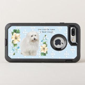 Coton De Tulear, White Diamonds on Blue Floral OtterBox Defender iPhone 8 Plus/7 Plus Case