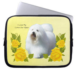 Coton De Tulear with Yellow Roses Laptop Sleeve