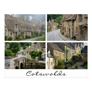Cotswolds architecture white text collage postcard