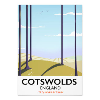 Cotswolds landscape railway travel poster