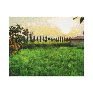 Cottage and farm canvas print