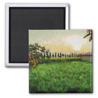 Cottage and farm square magnet
