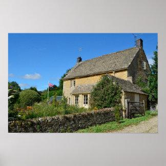 Cottage anglais avec l'affiche de jardin poster