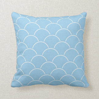 Cottage Blue and White Scallop Pattern Throw Pillow