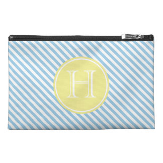 Cottage Blue and White Stripe With Yellow Monogram Travel Accessories Bags