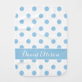 Cottage Blue Polka Dots on White Personalized Burp Cloth