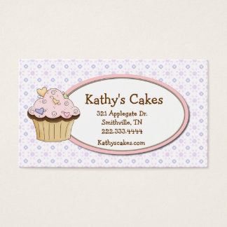 Cottage Chic Cupcake Bakery Loyalty Business Cards